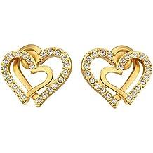 f3cb34a4f2c8 Niyatree Mujer Moda Pendientes Bañado en 18K Oro con Cristal - Doble Corazón  Elegante + Caja