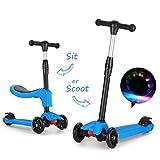 Fascol 2 en 1 Patinete de 3 Ruedas de LED para Niños Scooter Vespa de Asiento Desmontable para 18 meses - 8 años Niños Patinete de Carga Máxima: 50 kg Carga Máxima del Asiento: 25 kg (Azul)