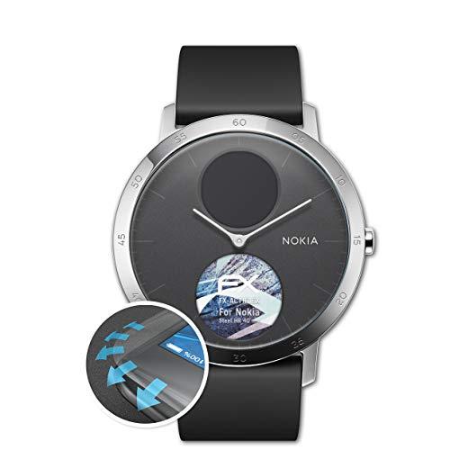 atFoliX Schutzfolie passend für Nokia Steel HR 40 mm Folie, ultraklare & Flexible FX Bildschirmschutzfolie (3X)