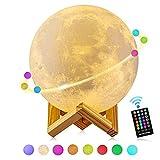 Groß! 18cm Mondlampe, GDREAMT 16 Farben 3D Mond lampe, Remote & Touch Control/Timing-Funktion/Dimmbar/USB Wiederaufladbare Nachtlampe Dekorative Licht für Kinder Geschenk (7.1 Zoll)