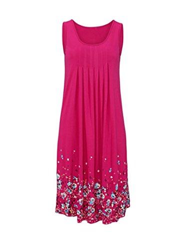 Viconica Damen Elegant Sommer Kleider Drucken Floral Strandkleid Partykleid Knielang Ärmellos Rose