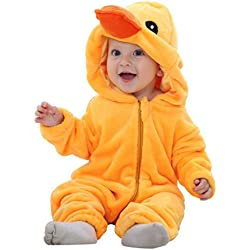 Katara 1778 - Kigurumi Mameluco Disfraz Infantil- Bebé 6-12 Meses, Pollito Amarillo