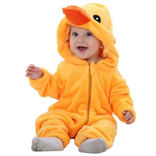 Küken-Kostüm mit niedlichen Details, Schnabel und Kuller-augen, Onesie für Babys und Kleinkinder mit Reißverschluss und Kapuze, Jumpsuit ()