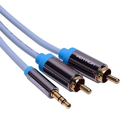 Vention RCA Audio Kabel, 3,5 mm Stereo Klinke zu 2 Cinch Phono Y Audio Splitter Kabel für Surround Sound Dolby Digital DTS TV Heimkino DVD VCD etc (5M / 16ft, Blau) -