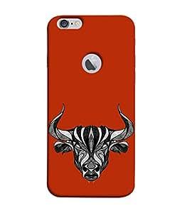 PrintVisa Designer Back Case Cover for Apple iPhone 6S (Logo View Window Case) (Zodiac Astrology Bull Animal Horn Raashi)