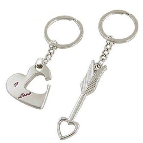 Sonline Coppie Portachiavi - freccia e 'I Love You' / cuore Anniversario di matrimonio regalo San Valentino / compleanno / Nat