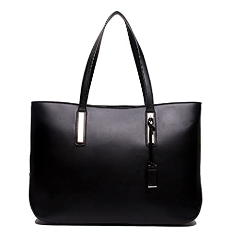 Miss Lulu Women's Faux Leather Handle Tote Bag, Black