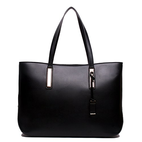 Ladies Designer Leather Style Large Tote Bag Shoulder Satchel Handbag (Black)