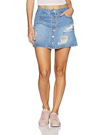 Forever 21 Women's Body Con Slim Fit Cotton Mini Skirt (00214721043_0021472104_LIGHT DENIM_3_)