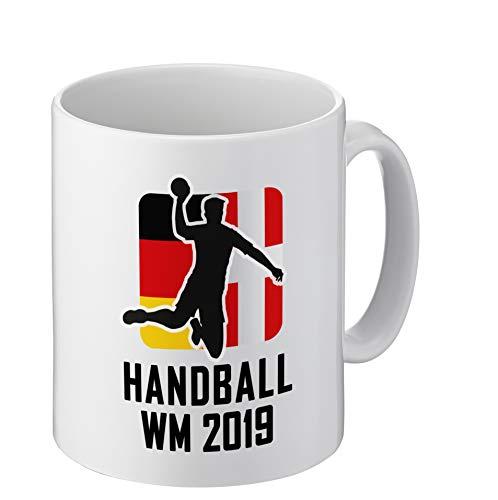 Foto Premio Tasse zur Handball-Weltmeisterschaft 2019 | Kaffeetasse mit Handball-WM Motiv | beidseitig Bedruckt | EIN ideales Geschenk für Freunde, Familie oder Lieblingskollegen