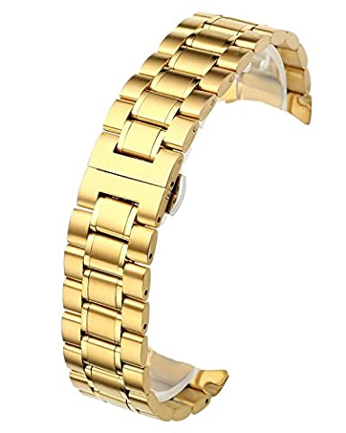 JSDDE Gold 20mm Solid Stainless Steel Curved End Link Bracelet Wrist Watch Band Strap Replacement Butterfly Deployant Buckle Double Push Spring Deployment Clasp 3 Rows Metal