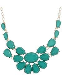 Oliferi Green Resin Flower Choker Partywear Statement Necklace For Women And Girls