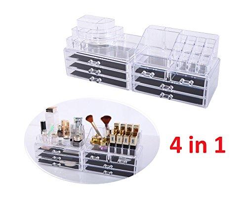 Kosmetik Aufbewahrung Organizer 4 in 1 Make-Up Schmuck-Box Klar Acryl MIT 7 Schubladen 8 Ebenen