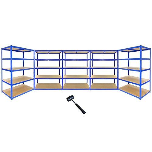 5 Monster Racking T-Rax Heavy Duty Shelves Industrial Garage Storage Solutions, 280kg/shelf, 120cm x 60cm x 180cm