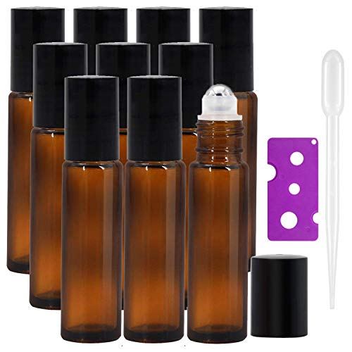 c628548e92b5 10Pcs, 10ml Essential Oils Roller Bottles - Amber Glass Roll on Bottles  with Stainless Steel Roller Balls Perfect for Fragrance, Aromatherapy by ...