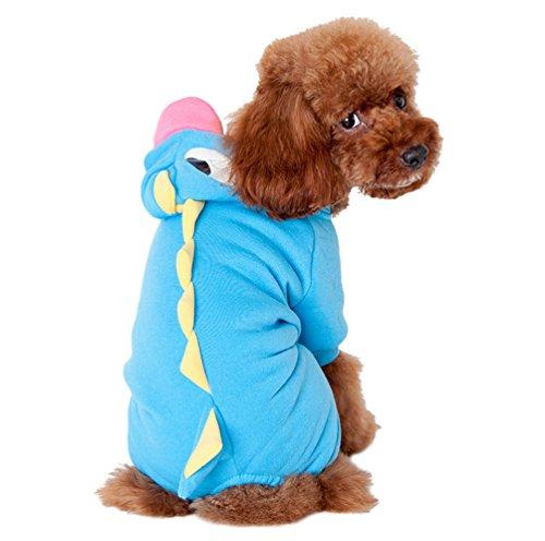 Yuncai Dinosaurier Verkleidung Haustier Party Kostüme Lustige Halloween Hund Kleidung Cosplay Blau S