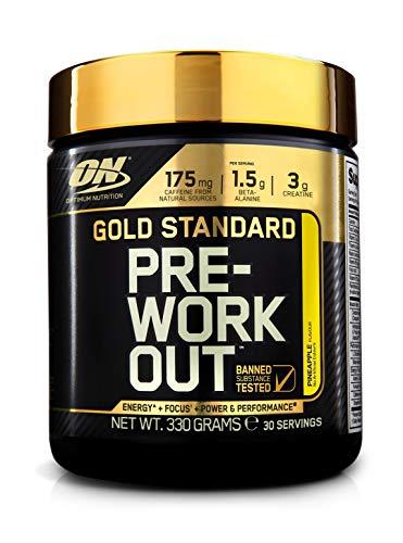 Optimum Nutrition Gold Standard Pre Workout Energie Booster (Pulver Shake mit Kreatin Monohydrat, Beta Alanin, natürliches Koffein und Vitamin B von ON) Pineapple, 30 Portionen, 330g