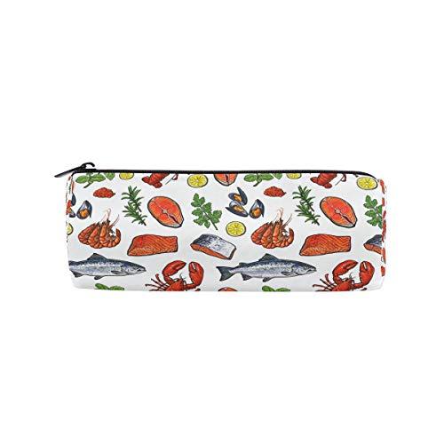 Federmäppchen in Zylinderform, Meeresfrüchte, Garnelen, Fische, nahtloses Muster, Stiftebeutel mit Reißverschluss