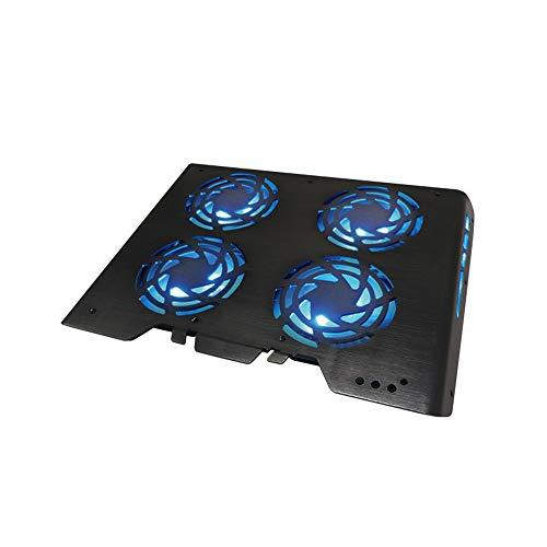 HJL Laptop Kühlung, Kühlung Laptopständer Allmähliche Atmung Brushed Panel Licht Voll kompatibel LED-Controller Quad-Core Silent Lüfter