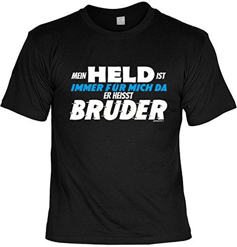 Familien/Brüder-Spaß/Fun-Shirt/Rubrik lustige Sprüche: Mein Held ist immer für mich da Er heisst Bruder geniales Geschenk Schwarz