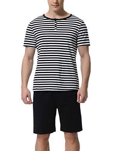 Abollria Schlafanzug Herren Zweiteiliger Pyjama kurz Baumwolle Schlafanzüge Anzug Shirt Hose Kurze Sommer Shorty Sleepwear Loungewear (Schwarz-Weiss, XL)