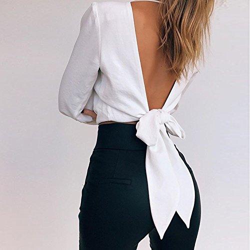 LAEMILIA T-shirt Femme Chemisier Chemise Mousseline de Soie Manche Longue Col V Uni Sexy Blouse Tunique Hauts Shirt Blanc