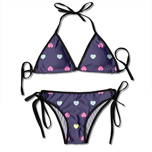fcca3b21781f77 Colored Love Sexy Women Beach Swimwear Two Pieces Bathing Suit Bikini Top