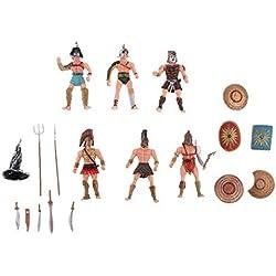 Blesiya 6pcs Figuras en Miniatura de Plástico Antiguo Romano Gladiadores Figuras de Acción Medievales Playset Juguete de Bricolaje