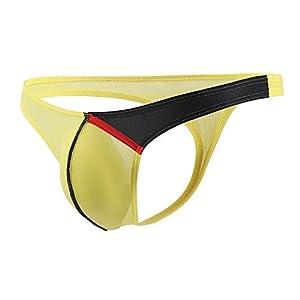 41J4M8iA7NL. SS300  - Calzoncillos Boxer para Hombre Sexy Tanga Slips Ropa Interior de algodón Colisión de Color Cintura Baja Sección Delgada Salientes Ropa de Dormir Atractivo Briefs MMUJERY