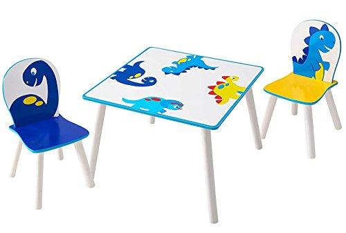 PEGANE Ensemble Table et 2 chaises Enfants en Bois Coloris Blanc Motif Dinosaure