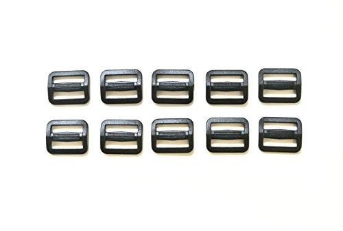 10-black-plastic-3-bar-slides-buckles-for-25mm-webbing