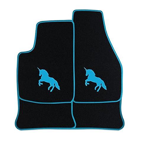 Fußmatten aus NF-Velours in Schwarz mit Logo EINHORN mittig, Rand & Logo in Mint (505) für VW UP ab Baujahr 2011