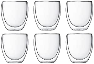 Bodum PAVINA  Glass Set (Double-Walled, Isolated, 0.25 L/8 oz) - Pack of 6, Transparent