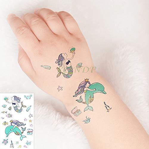 emporäre Tätowierung Aufkleber Meerjungfrau Wal Meeresschildkröte Fisch Shell Tatto Flash Tattoo Fake Tattoos für Kinder Mädchen Männer Frauen ()