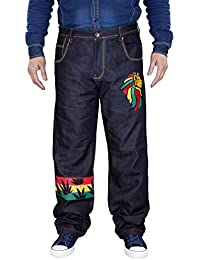 Nouveaux hommes Designer Bob Marley Rasta Reggae Jamaica Straight Leg Casual Jeans