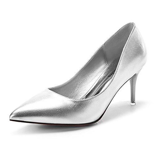 Damen Pumps Spitze Glänzende Spiegelleder Slip On Stilettos Schöne Brautschuhe Silber