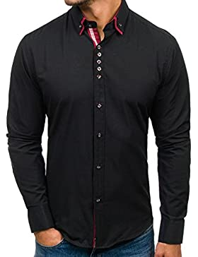 BOLF Hombre Camisa Elegante Abotonada Varios Colores Estilo Casual 2B2