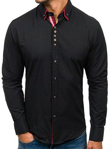 Bolf camicia – manica lunga – abbottonata – da uomo 5800 nera xl [2b2]