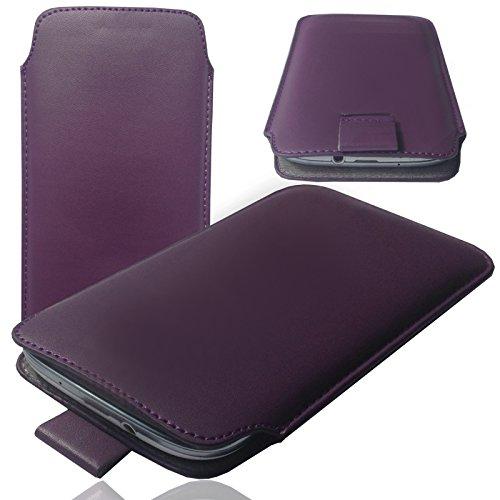 1A LILA Slim Cover Case Schutz Hülle Pull UP Etui Smartphone Tasche für M-Horse Pure 1