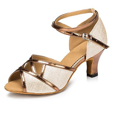 Chaussures De Danse-personnalisable-womens-latin-american Dance Danse Moderne Salsa-heel-custom-cuir Paillette-argent Or Or