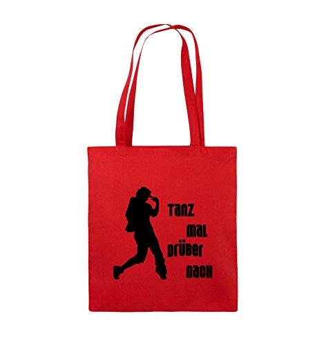 Comedy Bags - TANZ MAL DRÜBER NACH - FIGUR - Jutebeutel - lange Henkel - 38x42cm - Farbe: Schwarz / Silber Rot / Schwarz