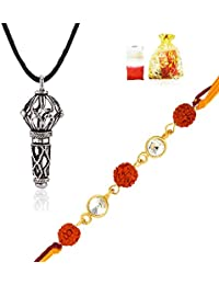 Mahi Combo Of Vivid Rudraksha Rakhi (Raksha Sutra) And Lord Hanuman Silver Plated Pendant CO1104302M