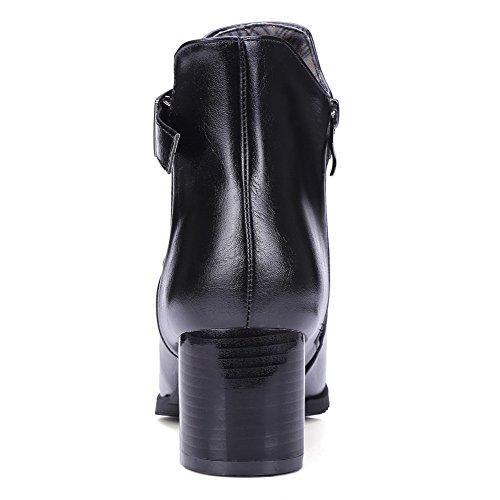 VogueZone009 Donna Cerniera Scarpe A Punta Tacco Medio Bassa Altezza Stivali con Fibbia Nero