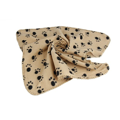 Generic Warm Brown Fleece Blanket Pet Dog Paw Print Pattern Soft Bed Mat--M