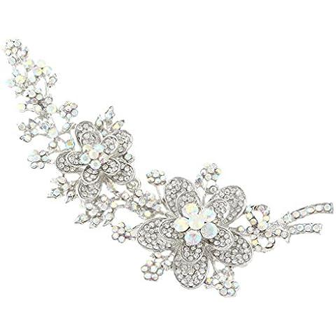 EVER FAITH® 5.7 pollici Flower Bowknot iridescente libero di ab cristallo austriaca Spilla Pin Silver-Tone