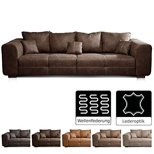 Cavadore Big Sofa Mavericco / Big Couch im modernen Design  in Lederoptik / Inklusive Rückenkissen und Zierkissen / 287 x 69 x 108 cm (BxHxT) / Mikrofaser Braun (Big Sofa)