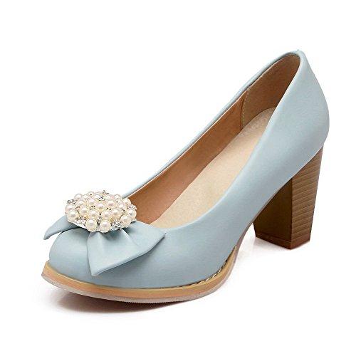 VogueZone009 Damen Ziehen Auf Hoher Absatz Pu Leder Rein Rund Zehe Pumps Schuhe Blau