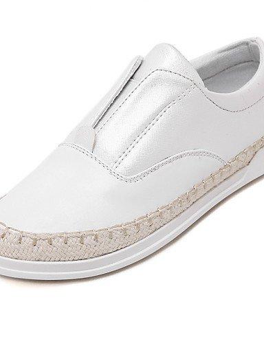 ShangYi gyht Scarpe Donna-Mocassini-Casual-Comoda-Piatto-Di pelle-Nero / Bianco / Argento White
