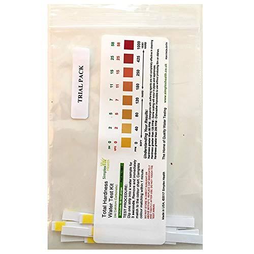SimplexHealth Trinkwasser Wasserhärtetest Härte/Gesamthärte (10 Teststreifen) zuverlässige und schnelle Ergebniss