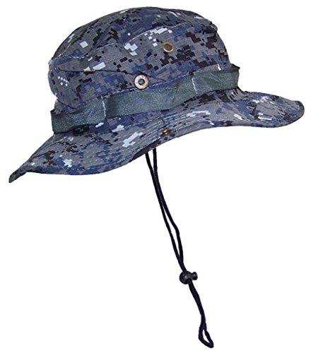 TININNA Herren Camo Tarnung Buschhut Boonie Rip Stop Safari Hut Schlapphut Outback Hut Rangerhut mit Kinnband blau EINWEG Verpackung